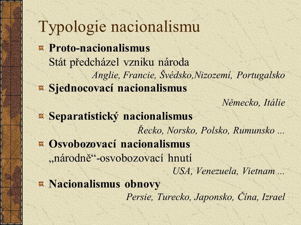 Typologie nacionalismu Proto-nacionalismus Stát předcházel vzniku národa Anglie, Francie, Švédsko,Nizozemí, Portugalsko Sjednocovací nacionalismus Německo, Itálie Separatistický nacionalismus Řecko, Norsko, Polsko, Rumunsko...
