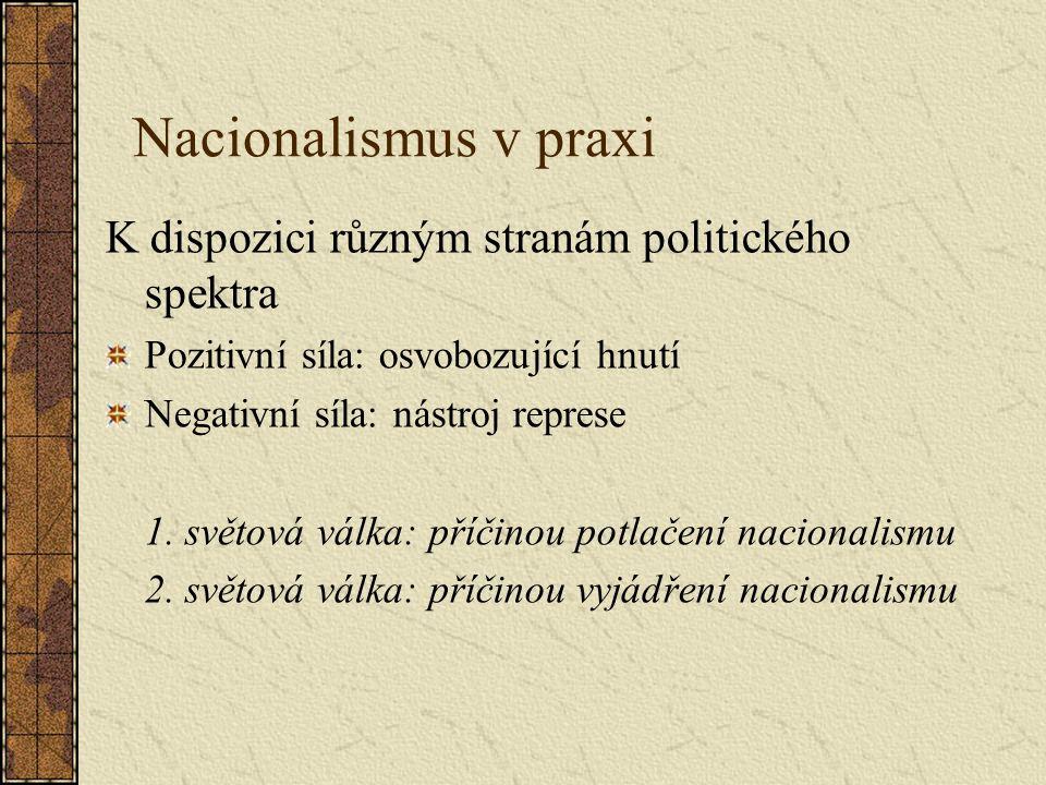 Nacionalismus v praxi K dispozici různým stranám politického spektra Pozitivní síla: osvobozující hnutí Negativní síla: nástroj represe 1.