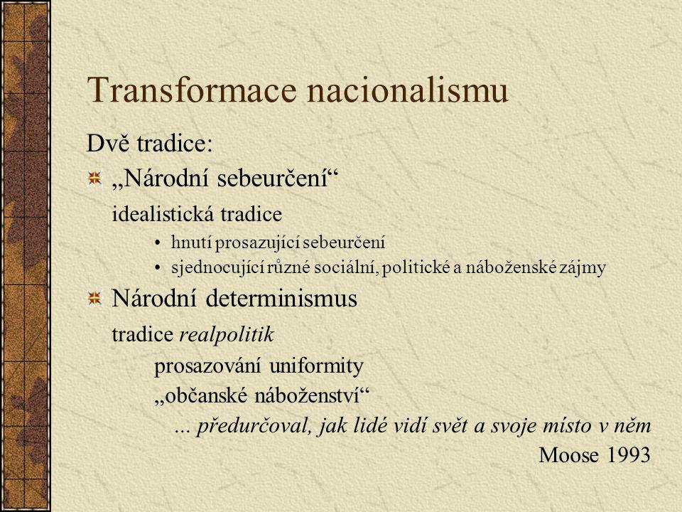 """Transformace nacionalismu Dvě tradice: """"Národní sebeurčení idealistická tradice hnutí prosazující sebeurčení sjednocující různé sociální, politické a náboženské zájmy Národní determinismus tradice realpolitik prosazování uniformity """"občanské náboženství ..."""