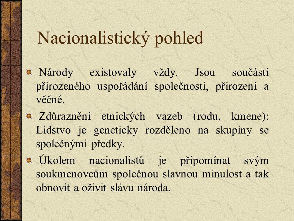 Nacionalistický pohled Národy existovaly vždy.