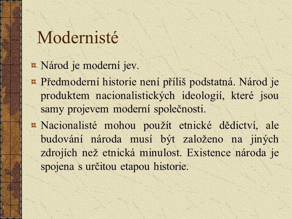 Modernisté Národ je moderní jev. Předmoderní historie není příliš podstatná.