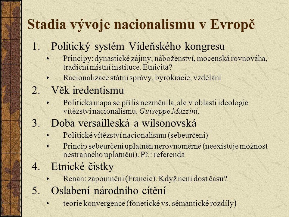 Stadia vývoje nacionalismu v Evropě 1.Politický systém Vídeňského kongresu Principy: dynastické zájmy, náboženství, mocenská rovnováha, tradiční místní instituce.