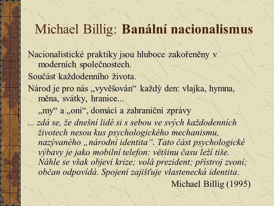 Michael Billig: Banální nacionalismus Nacionalistické praktiky jsou hluboce zakořeněny v moderních společnostech.