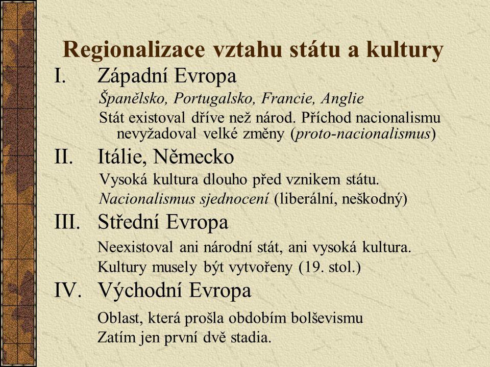 Regionalizace vztahu státu a kultury I.Západní Evropa Španělsko, Portugalsko, Francie, Anglie Stát existoval dříve než národ.