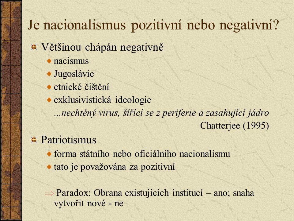 Je nacionalismus pozitivní nebo negativní.