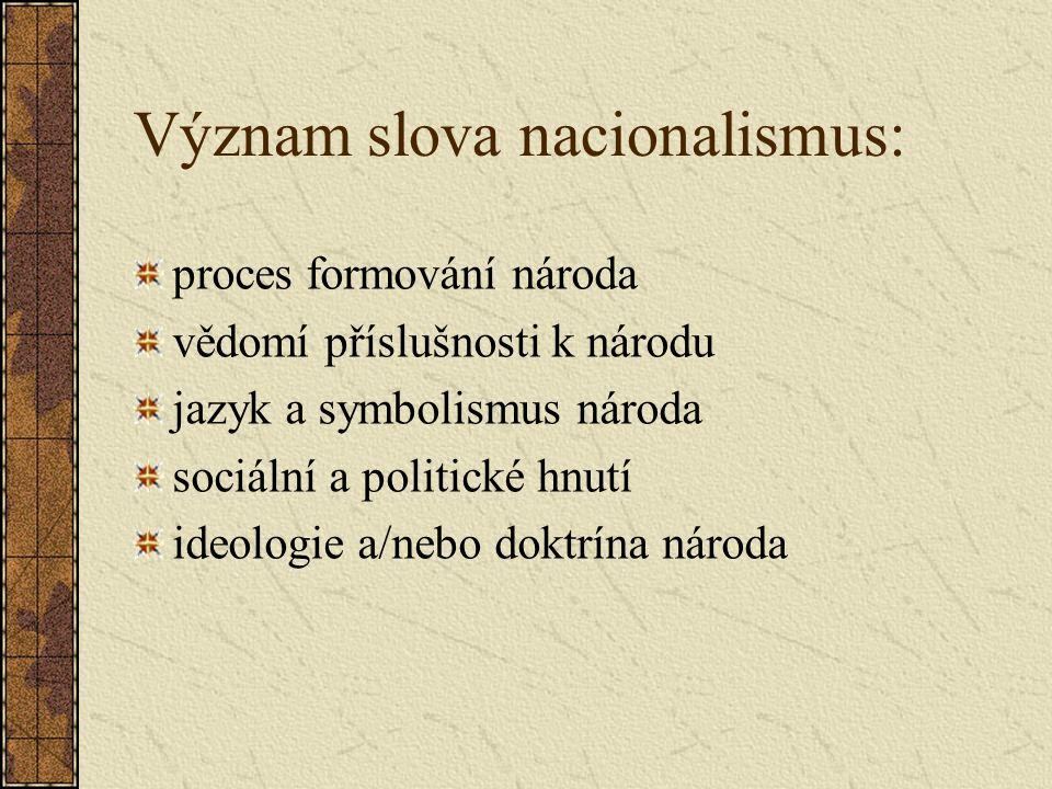 Význam slova nacionalismus: proces formování národa vědomí příslušnosti k národu jazyk a symbolismus národa sociální a politické hnutí ideologie a/nebo doktrína národa