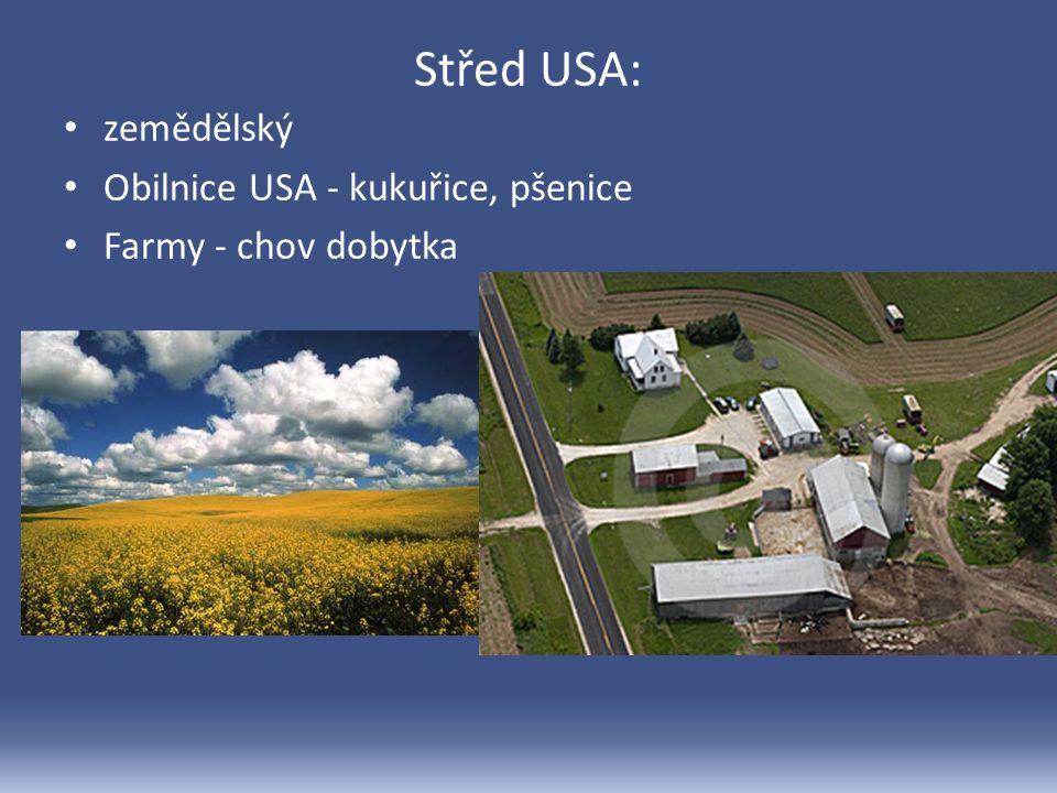 Střed USA: zemědělský Obilnice USA - kukuřice, pšenice Farmy - chov dobytka