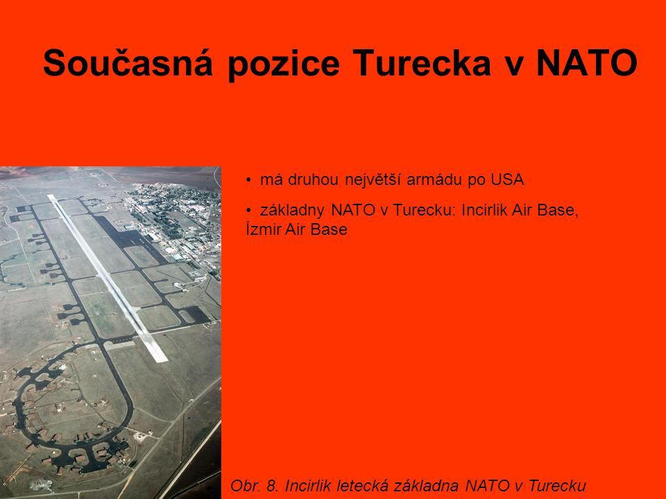 Současná pozice Turecka v NATO má druhou největší armádu po USA základny NATO v Turecku: Incirlik Air Base, İzmir Air Base Obr. 8. Incirlik letecká zá