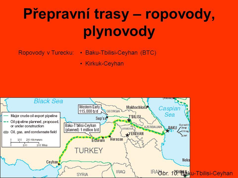 Přepravní trasy – ropovody, plynovody Ropovody v Turecku: Baku-Tbilisi-Ceyhan (BTC) Kirkuk-Ceyhan Obr.