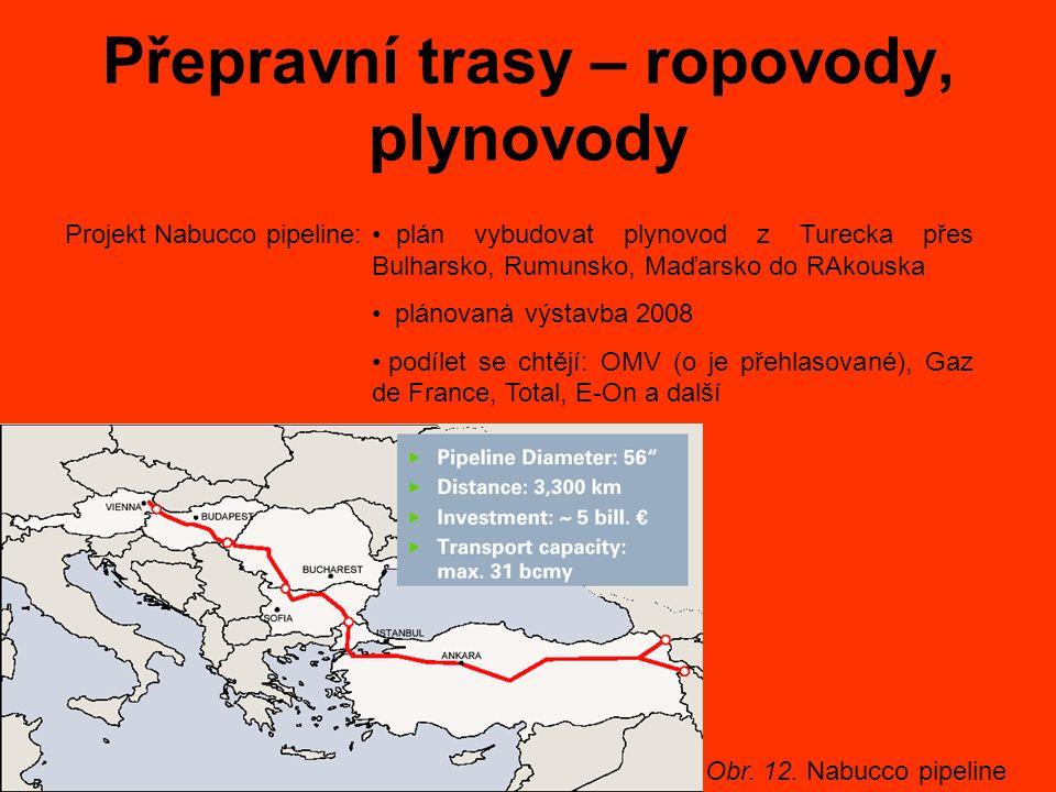 Přepravní trasy – ropovody, plynovody Projekt Nabucco pipeline: plán vybudovat plynovod z Turecka přes Bulharsko, Rumunsko, Maďarsko do RAkouska plánovaná výstavba 2008 podílet se chtějí: OMV (o je přehlasované), Gaz de France, Total, E-On a další Obr.