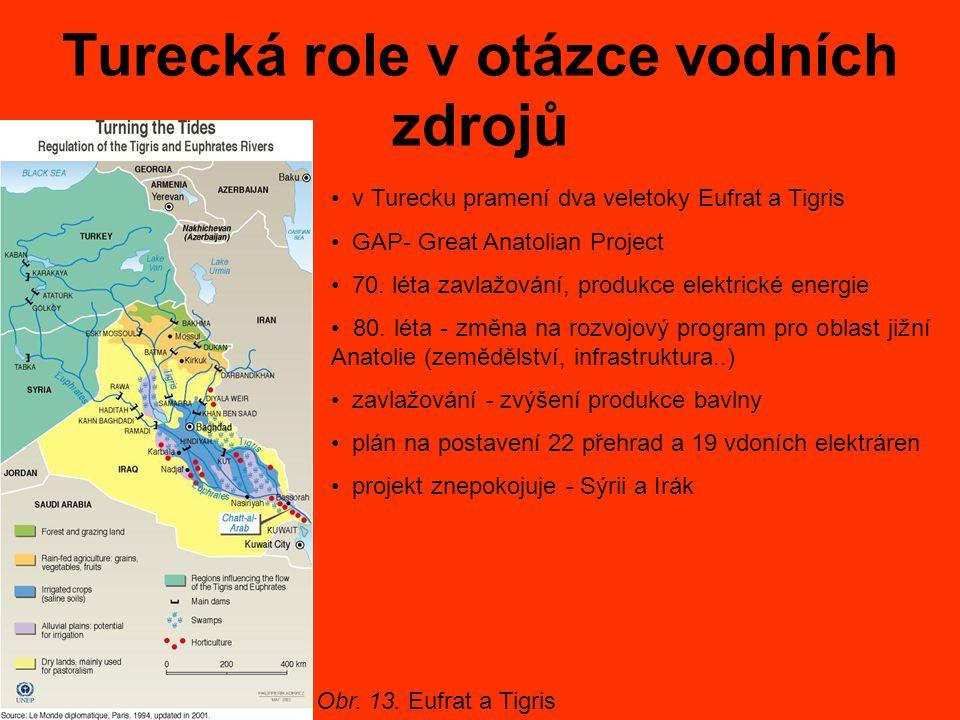 Turecká role v otázce vodních zdrojů v Turecku pramení dva veletoky Eufrat a Tigris GAP- Great Anatolian Project 70. léta zavlažování, produkce elektr