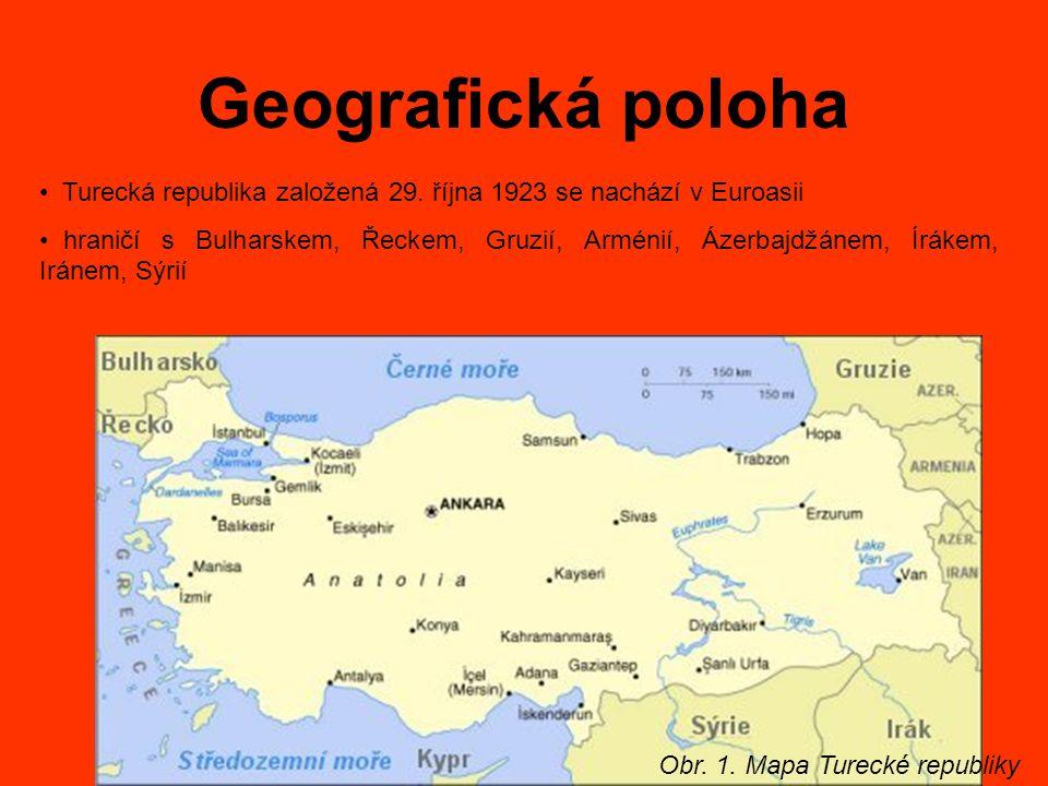 Geografická poloha Obr. 1. Mapa Turecké republiky Turecká republika založená 29. října 1923 se nachází v Euroasii hraničí s Bulharskem, Řeckem, Gruzií