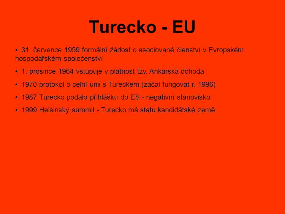 Turecko - EU 31. července 1959 formální žádost o asociované členství v Evropském hospodářském společenství 1. prosince 1964 vstupuje v platnost tzv. A