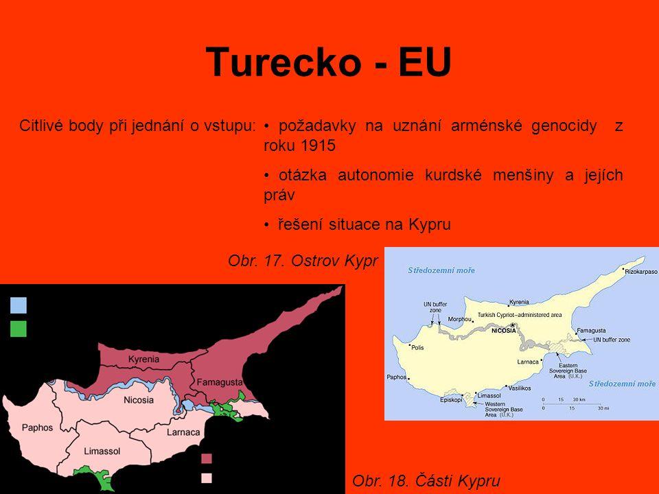 Turecko - EU Citlivé body při jednání o vstupu: požadavky na uznání arménské genocidy z roku 1915 otázka autonomie kurdské menšiny a jejích práv řešení situace na Kypru Obr.