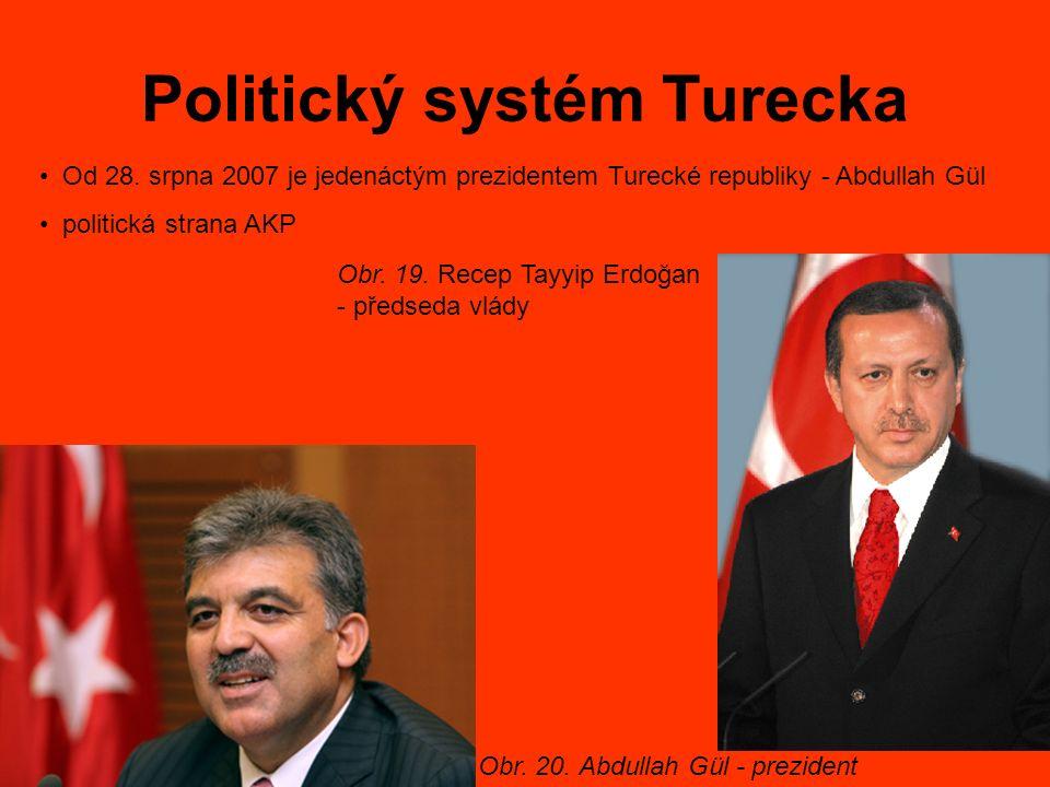 Politický systém Turecka Od 28. srpna 2007 je jedenáctým prezidentem Turecké republiky - Abdullah Gül politická strana AKP Obr. 20. Abdullah Gül - pre