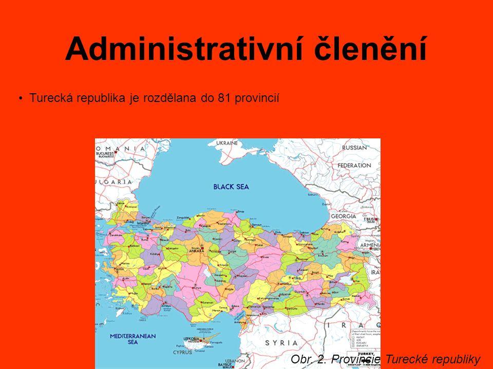 Administrativní členění Obr. 2. Provincie Turecké republiky Turecká republika je rozdělana do 81 provincií