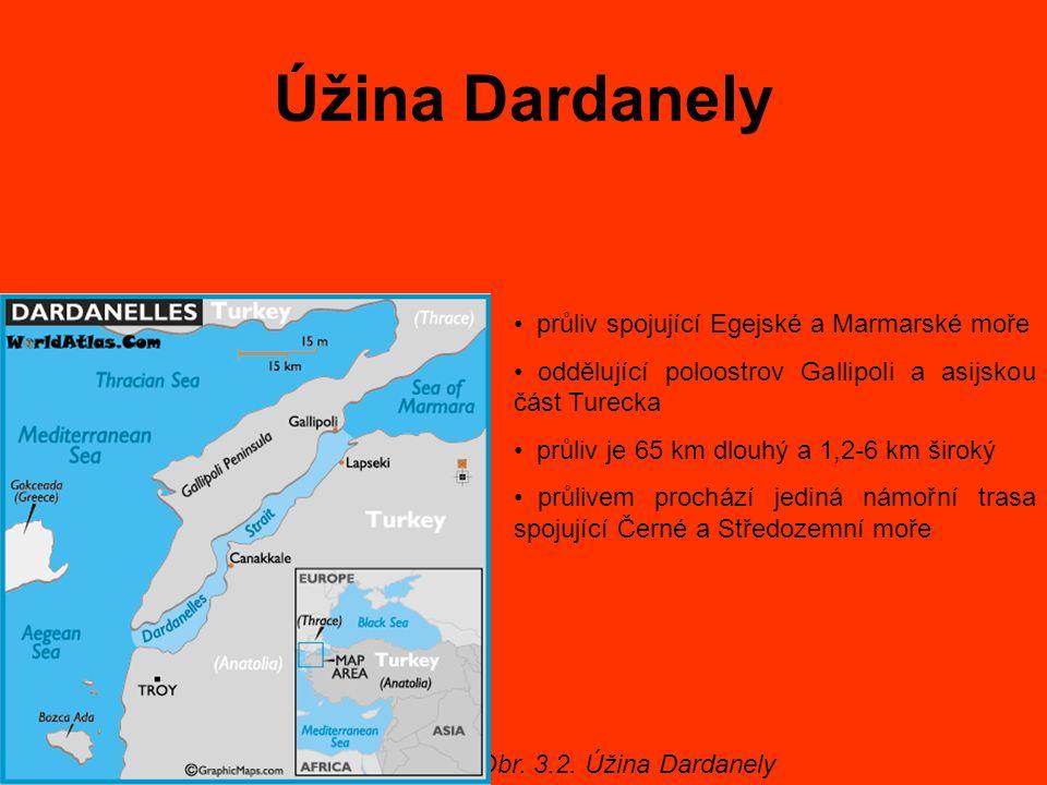 Úžina Dardanely Obr. 3.2. Úžina Dardanely průliv spojující Egejské a Marmarské moře oddělující poloostrov Gallipoli a asijskou část Turecka průliv je