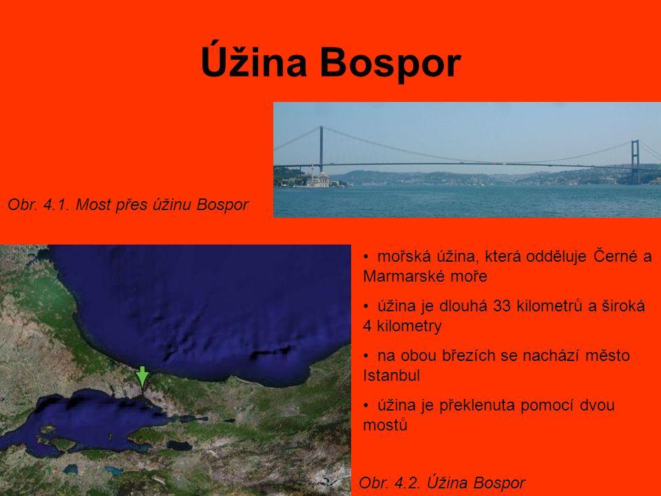 Úžina Bospor mořská úžina, která odděluje Černé a Marmarské moře úžina je dlouhá 33 kilometrů a široká 4 kilometry na obou březích se nachází město Istanbul úžina je překlenuta pomocí dvou mostů Obr.