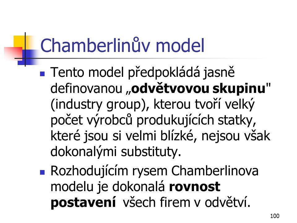 """100 Chamberlinův model Tento model předpokládá jasně definovanou """"odvětvovou skupinu"""