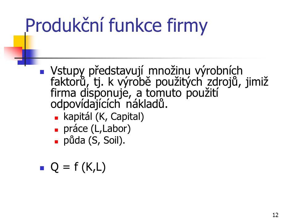 12 Produkční funkce firmy Vstupy představují množinu výrobních faktorů, tj. k výrobě použitých zdrojů, jimiž firma disponuje, a tomuto použití odpovíd