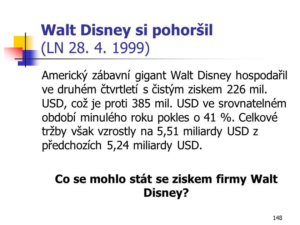 148 Walt Disney si pohoršil (LN 28. 4. 1999) Americký zábavní gigant Walt Disney hospodařil ve druhém čtvrtletí s čistým ziskem 226 mil. USD, což je p