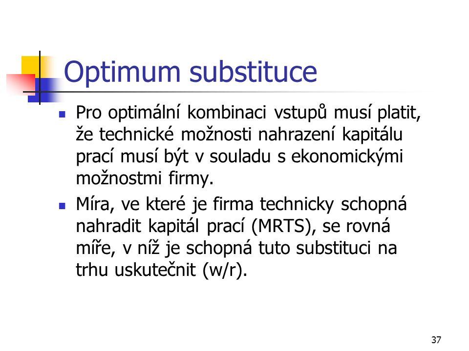 37 Optimum substituce Pro optimální kombinaci vstupů musí platit, že technické možnosti nahrazení kapitálu prací musí být v souladu s ekonomickými mož
