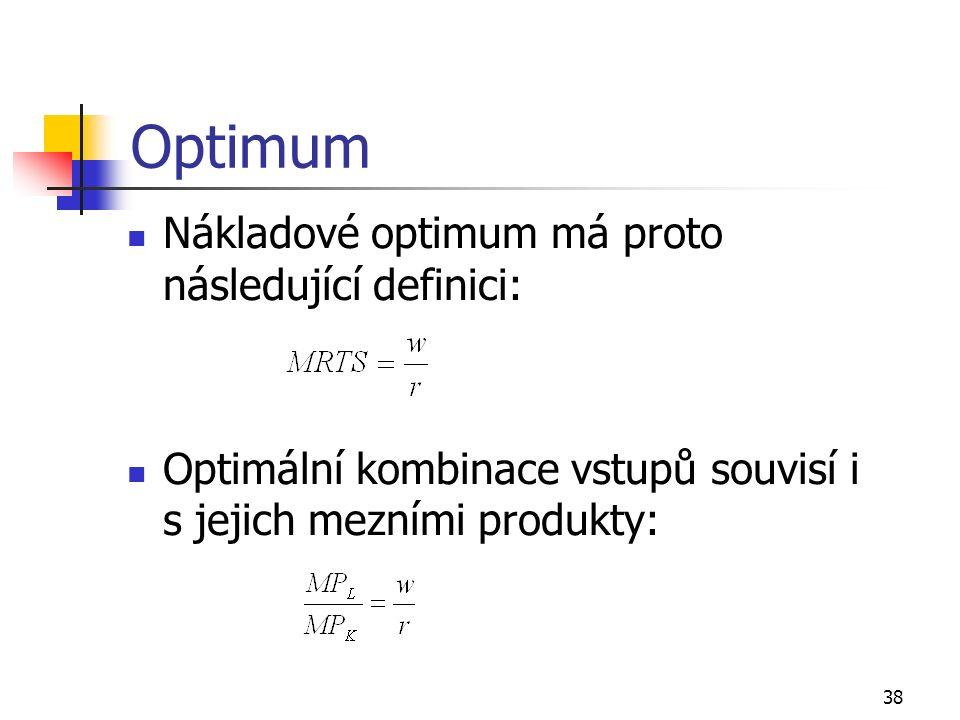 38 Optimum Nákladové optimum má proto následující definici: Optimální kombinace vstupů souvisí i s jejich mezními produkty: