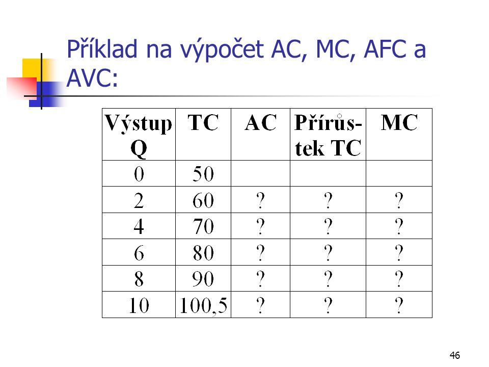 46 Příklad na výpočet AC, MC, AFC a AVC: