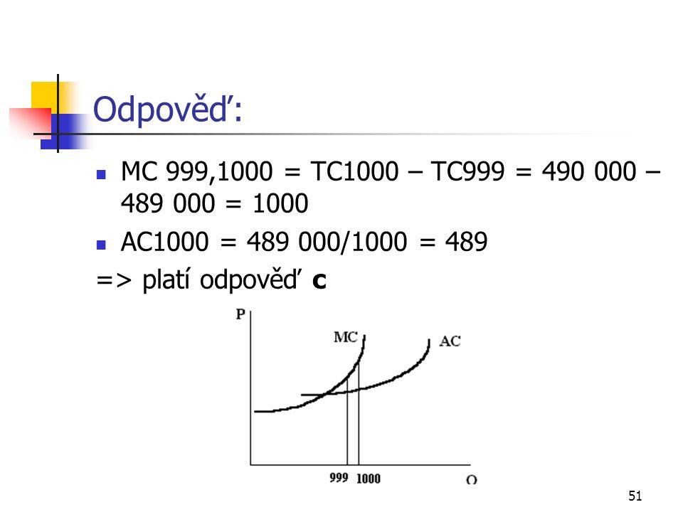 51 Odpověď: MC 999,1000 = TC1000 – TC999 = 490 000 – 489 000 = 1000 AC1000 = 489 000/1000 = 489 => platí odpověď c