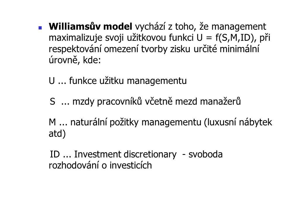 Williamsův model vychází z toho, že management maximalizuje svoji užitkovou funkci U = f(S,M,ID), při respektování omezení tvorby zisku určité minimál