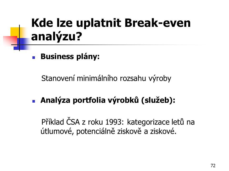 72 Kde lze uplatnit Break-even analýzu? Business plány: Stanovení minimálního rozsahu výroby Analýza portfolia výrobků (služeb): Příklad ČSA z roku 19