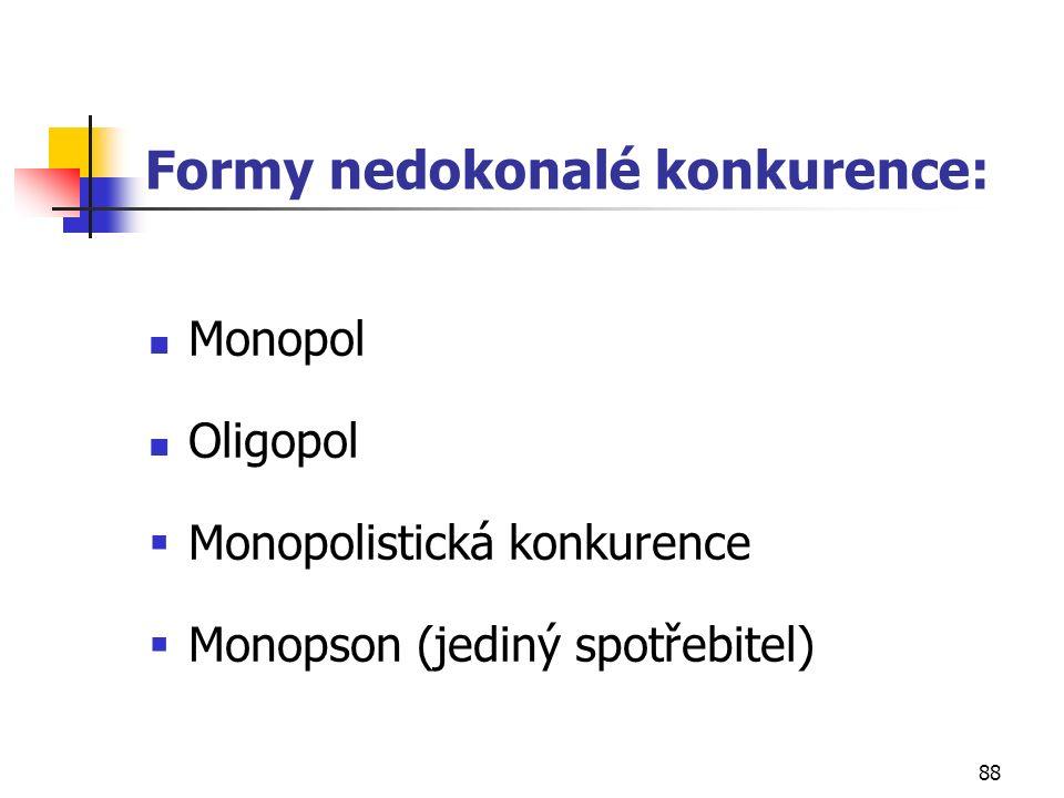 88 Formy nedokonalé konkurence: Monopol Oligopol  Monopolistická konkurence  Monopson (jediný spotřebitel)