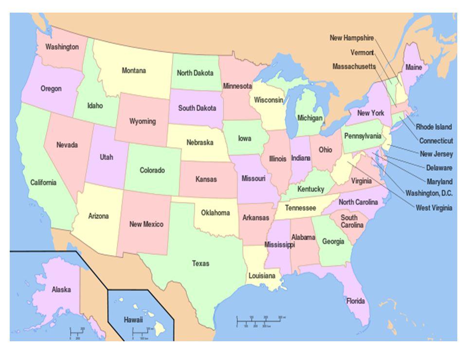 Dělení území USA Východ a jih – Pobřeží Atlantiku a Mexického zálivu – Appalačské pohoří a dolní tok Mississipi Střed – Velká jezera až po úpatí Kordiller Západ – Kordillery a pobřeží Tichého oceánu