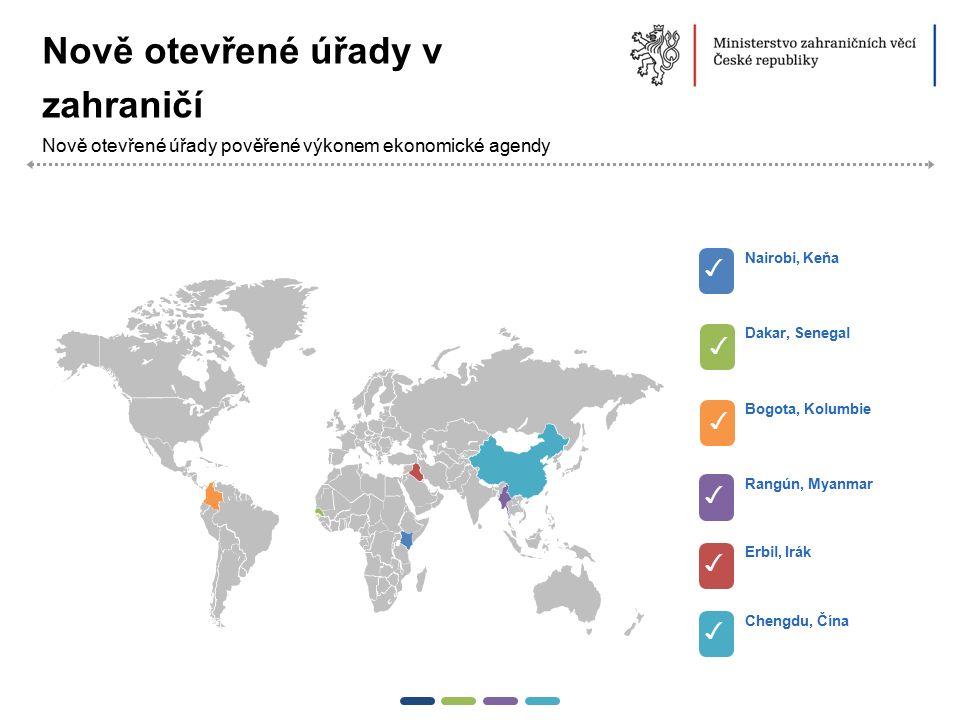 13  Nově otevřené úřady pověřené výkonem ekonomické agendy ✓ Nairobi, Keňa ✓ Dakar, Senegal ✓ Bogota, Kolumbie ✓ Rangún, Myanmar ✓ Erbil, Irák ✓ Chen