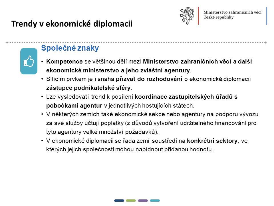 8  Trendy v ekonomické diplomacii Kompetence se většinou dělí mezi Ministerstvo zahraničních věcí a další ekonomické ministerstvo a jeho zvláštní age