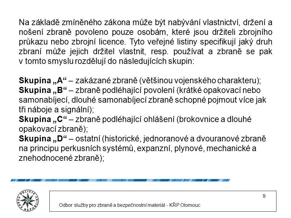 Struktura OSZBM KŘP Olomouckého kraje Odbor služby pro zbraně a bezpečnostní materiál - KŘP Olomouc 20 Náměstek pro vnější službu Odbor služby pro zbraně a bezpečnostní materiál Oddělení správního řízení Oddělení dohledu a dozoru