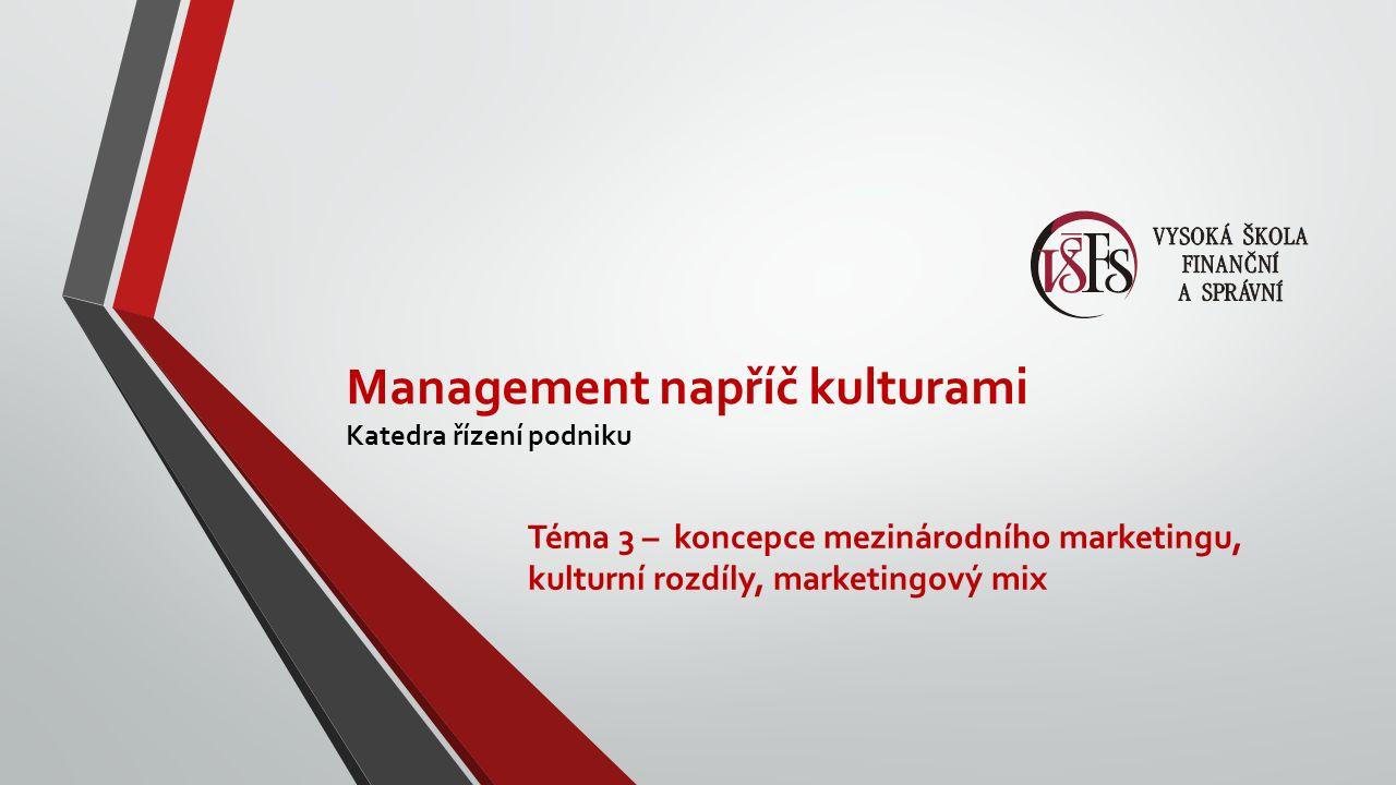 Management napříč kulturami Katedra řízení podniku Téma 3 – koncepce mezinárodního marketingu, kulturní rozdíly, marketingový mix