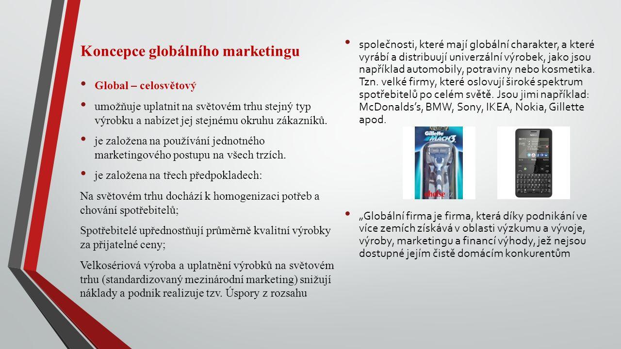 Koncepce globálního marketingu Global – celosvětový umožňuje uplatnit na světovém trhu stejný typ výrobku a nabízet jej stejnému okruhu zákazníků.