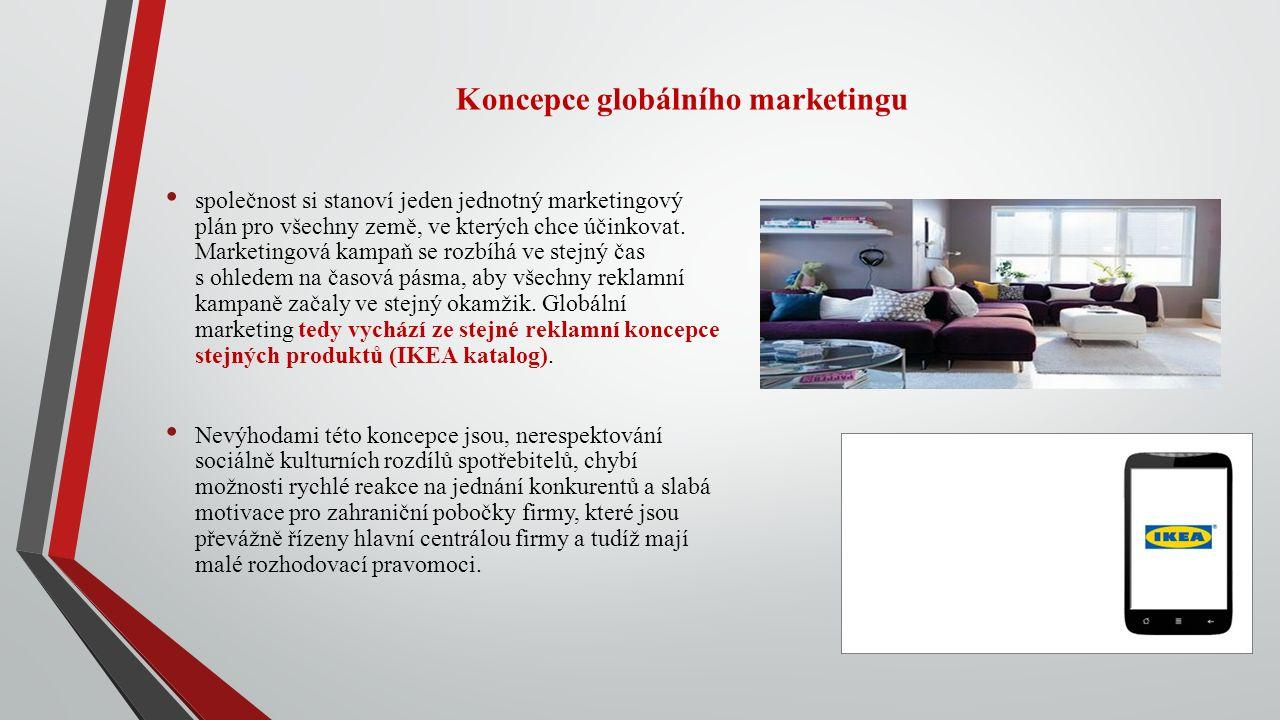 Koncepce globálního marketingu společnost si stanoví jeden jednotný marketingový plán pro všechny země, ve kterých chce účinkovat.