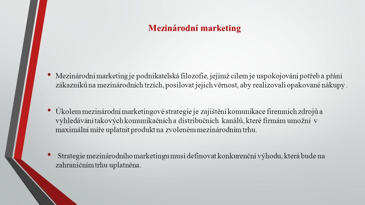 Mezinárodní marketing Mezinárodní marketing je podnikatelská filozofie, jejímž cílem je uspokojování potřeb a přání zákazníků na mezinárodních trzích, posilovat jejich věrnost, aby realizovali opakované nákupy.