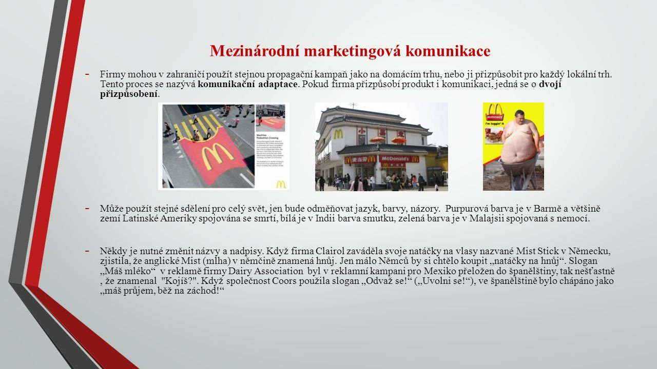 Mezinárodní marketingová komunikace - Firmy mohou v zahraničí použít stejnou propagační kampaň jako na domácím trhu, nebo ji přizpůsobit pro každý lokální trh.