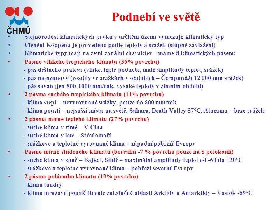 III. Podnebí Klasifikace klimatu ve světě Základní vlastnosti podnebí v ČR
