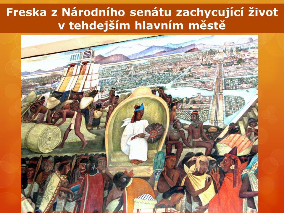 Freska z Národního senátu zachycující život v tehdejším hlavním městě