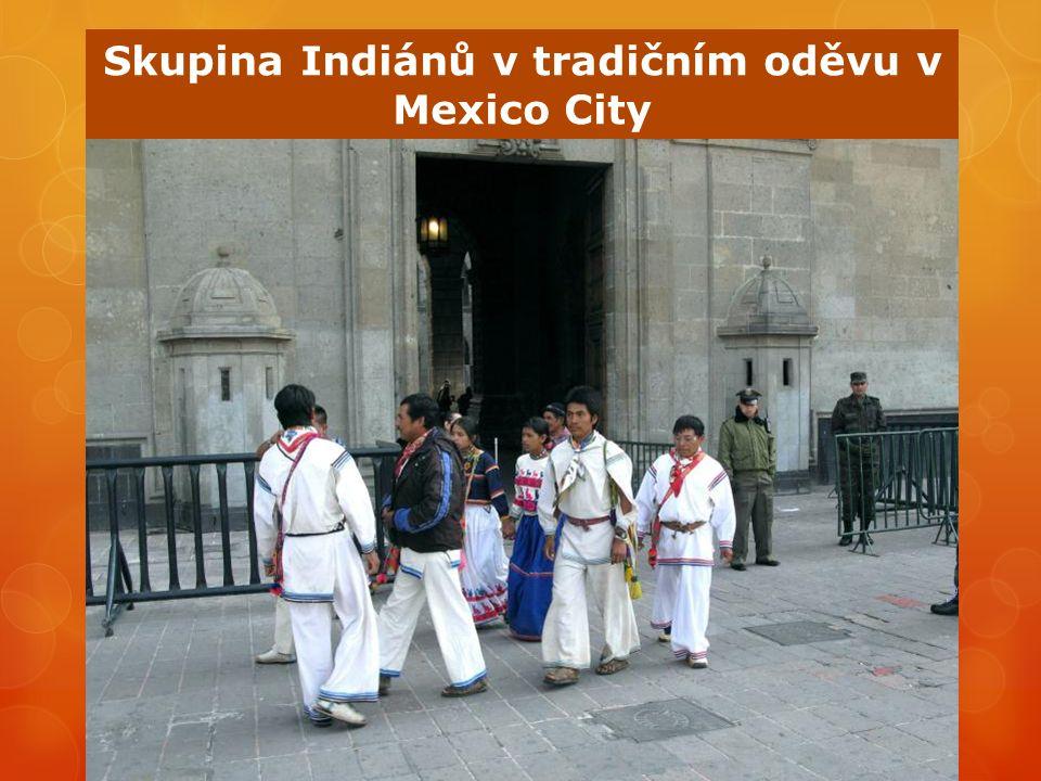 Skupina Indiánů v tradičním oděvu v Mexico City