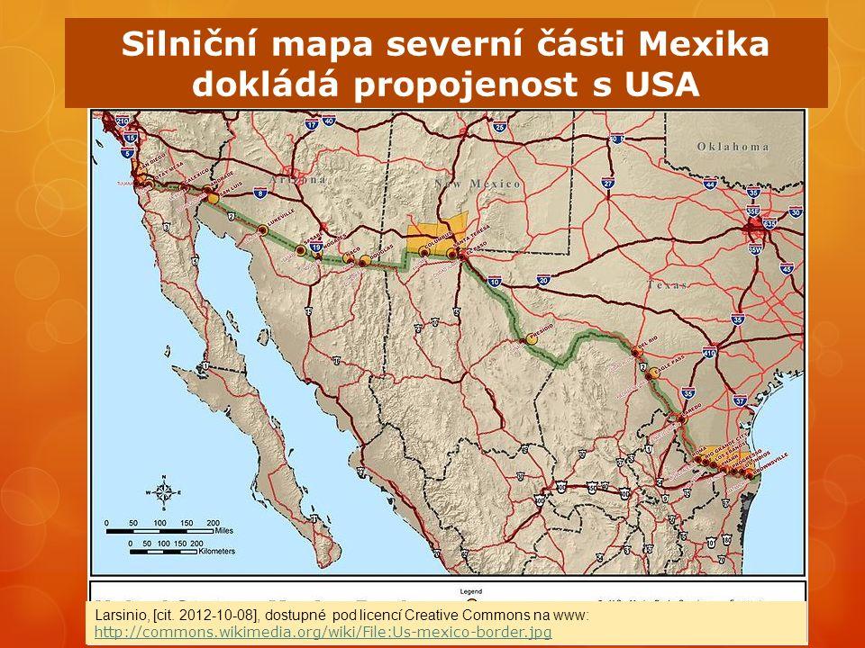 Silniční mapa severní části Mexika dokládá propojenost s USA Larsinio, [cit.