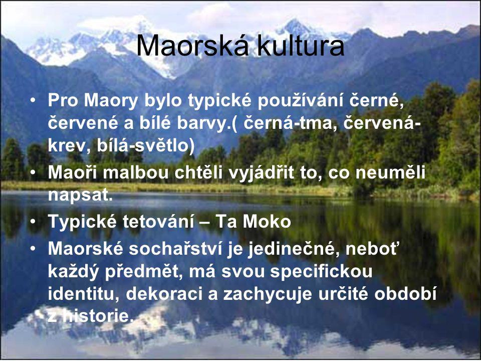 Maorská kultura Pro Maory bylo typické používání černé, červené a bílé barvy.( černá-tma, červená- krev, bílá-světlo) Maoři malbou chtěli vyjádřit to, co neuměli napsat.