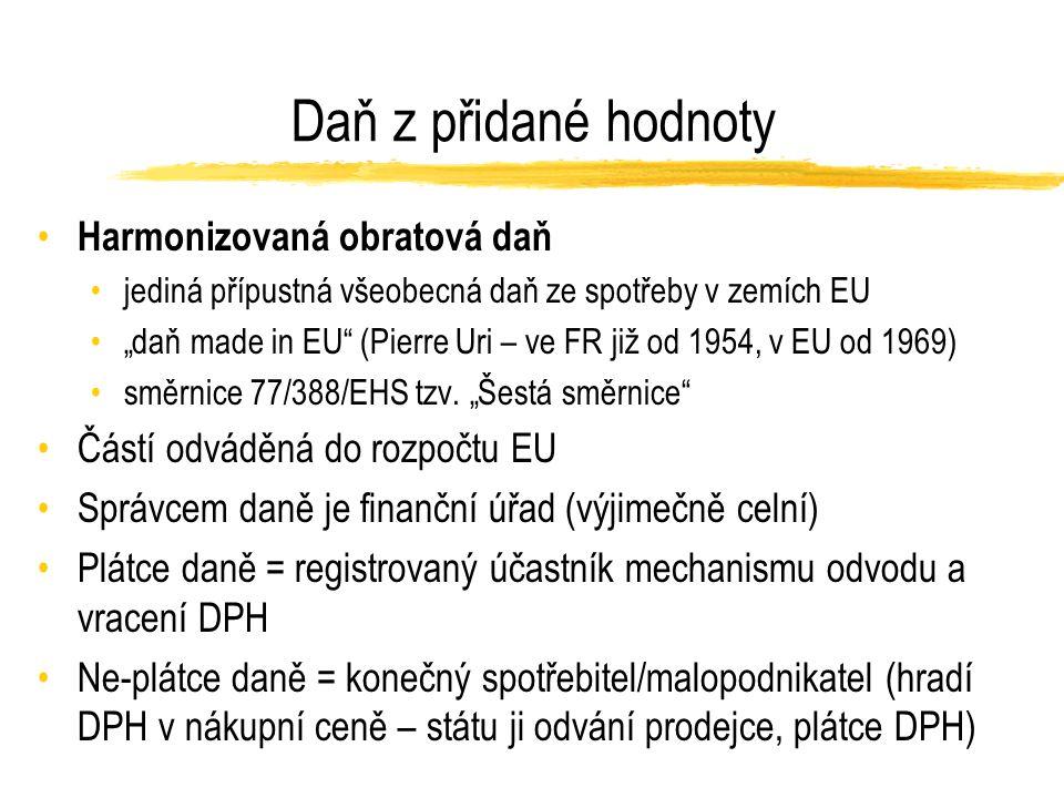 """Daň z přidané hodnoty Harmonizovaná obratová daň jediná přípustná všeobecná daň ze spotřeby v zemích EU """"daň made in EU (Pierre Uri – ve FR již od 1954, v EU od 1969) směrnice 77/388/EHS tzv."""