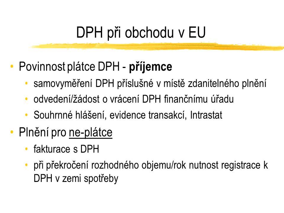 DPH při obchodu v EU Povinnost plátce DPH - příjemce samovyměření DPH příslušné v místě zdanitelného plnění odvedení/žádost o vrácení DPH finančnímu úřadu Souhrnné hlášení, evidence transakcí, Intrastat Plnění pro ne-plátce fakturace s DPH při překročení rozhodného objemu/rok nutnost registrace k DPH v zemi spotřeby