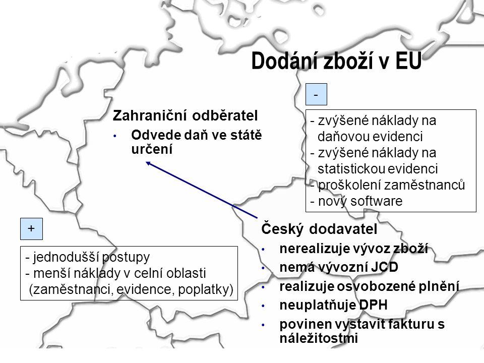 Dodání zboží v EU Zahraniční odběratel Odvede daň ve státě určení Český dodavatel nerealizuje vývoz zboží nemá vývozní JCD realizuje osvobozené plnění neuplatňuje DPH povinen vystavit fakturu s náležitostmi - zvýšené náklady na daňovou evidenci - zvýšené náklady na statistickou evidenci - proškolení zaměstnanců - nový software - jednodušší postupy - menší náklady v celní oblasti (zaměstnanci, evidence, poplatky) + -