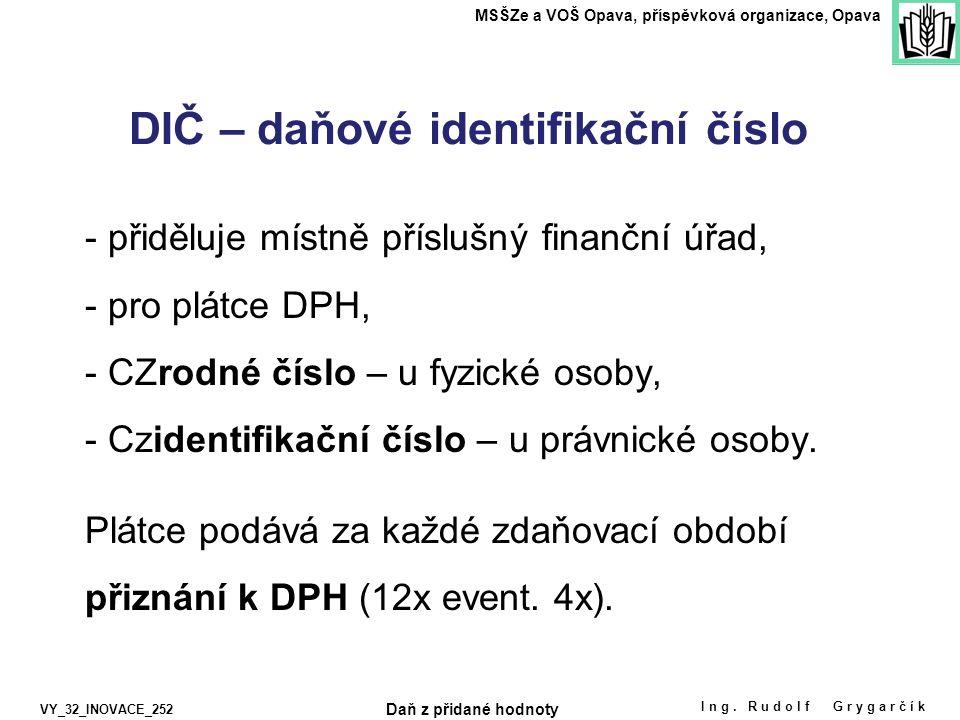 - přiděluje místně příslušný finanční úřad, - pro plátce DPH, - CZrodné číslo – u fyzické osoby, - Czidentifikační číslo – u právnické osoby.